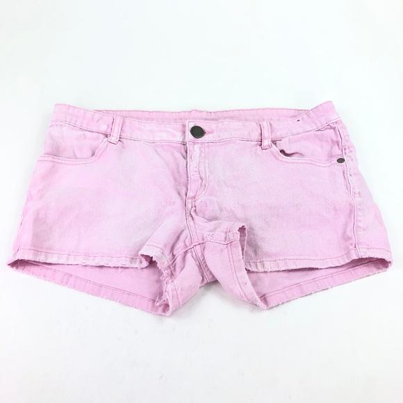 womens pink denim shorts